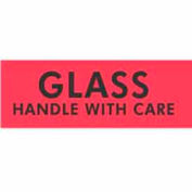 """Glass Handle With Care 2"""" x 3"""" - Fluorescent Red / Black"""