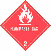 "Hazard Class 2 - Flammable Gas 4"" x 4"" - White / Red"