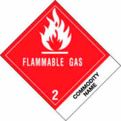 "Flammable Gas Compressed Gases 4"" x 4-3/4"" - White / Red / Black"