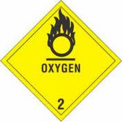 "Hazard Class 2 - Oxygen 4"" x 4"" - Yellow / Black"