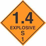 "Hazard Class 1 - 1.4 Explosive S 4"" x 4"" - Orange / Black"
