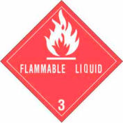 "Hazard Class 3 - Flammable Liquid 4"" x 4"" - White / Red"