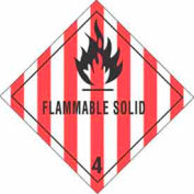 "Hazard Class 4 - Flammable Solid 4"" x 4"" - White / Red / Black"