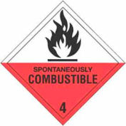 """Hazard Class 4 - Spontaneously Combustible 4"""" x 4"""" - White / Red / Black"""