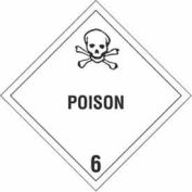"""Hazard Class 6- Poison 4"""" x 4"""" - White / Black"""