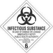 "Hazard Class 6 - Infectious Substance 4"" x 4"" - White / Black"