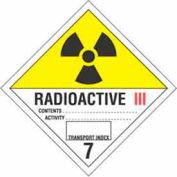 "Hazard Class 7 - Radioactive III 4"" x 4"" - White / Yellow / Red / Black"