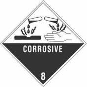 "Hazard Class 8 - Corrosive 4"" x 4"" - White /Black"