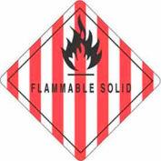 "Flamable Solid 4"" x 4"" - White / Red / Black"