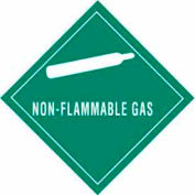 "Non-Flammable Gas 4"" x 4"" - Green / White"