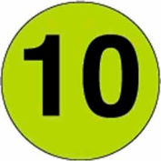 """3"""" Dia. Disc With #10 - Fluorescent Green / Black"""