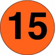 "2"" Dia. Disc With #15 - Fluorescent Orange / Black"