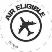 """Plane With Air Eligible Text 2"""" Dia. - White / Black"""