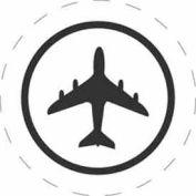 """Plane Air Eligible No Text 3"""" Dia. - White / Black"""