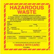 """Hazardous Waste California 6"""" x 6"""" - Yellow / Red / Black"""