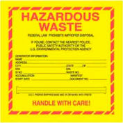 "Hazardous Waste 6"" x 6"" - Yellow / Red / Black"