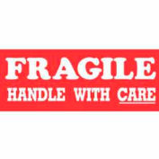 "Fragile Handle With Care 1-1/2"" x 4"" - Red / White"