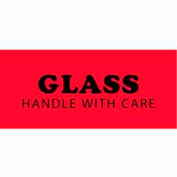 """Glass Handle With Care 1-1/2"""" x 4"""" - Fluorescent Red / Black"""