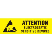 "Attn Electrostatic Sensitive 3/8"" x 1-1/4"" - Yellow / Black"