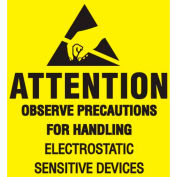 "Attention Observe Precaution 2"" x 2"" - Yellow / Black Inverted"