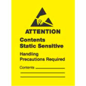 """Attention Contents Static Sensitive w/ Contents 1"""" x 1-1/2"""" - Yellow / Black"""