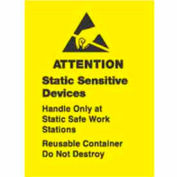 "Attention Contents Static Sensitive 1"" x 1-1/2"" - Yellow / Black"