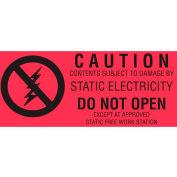 "Caution (Fluorescent) 1-1/2"" x 3"" - Fluorescent Red / Black"