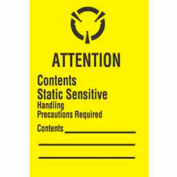 """Attention Contents Static Sensitive 1"""" x 1""""-1/2 - Yellow / Black"""