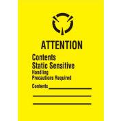 """Attn Con Static 1-3/4"""" x 2-1/2"""" - Yellow / Black"""
