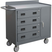 """Durham Mfg. Mobile Bench Cabinet, 4 Drawers, 41-7/8""""W x 18-1/8""""D, Gray"""