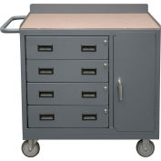 Durham 16 Gauge Mobile Bench Cabinet 2211A-TH-LU-95 - 4 Drawers, Tempered Hardboard Top