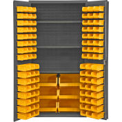 "Durham Storage Bin Cabinet 501-BDLP-102-3S-95 - 102 Yellow Hook-On Bins,3 Shelves 36""W x 24""D x 72""H"