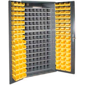 Durham Small Parts Storage Cabinet 3501-DLP-72/40B-96-95 - w/112 Steel Compartments, 96 Hook On Bins