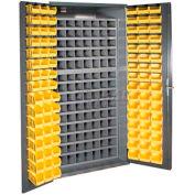 Durham Small Parts Storage Cabinet 3501-DLP-72/40B-96-95 - w/112 Steel Compartments, 96 Hook On Bins