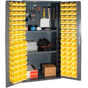 Durham Small Parts Storage Cabinet 3501-DLP-PB-96-2S-95 - w/Pegboard, 96 Bins, 2 Shelves