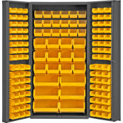 "Durham Storage Bin Cabinet DC-BDLP-132-95 - 132 Yellow Hook-on Bins, Deep Door 36""W x 24""D x 72""H"