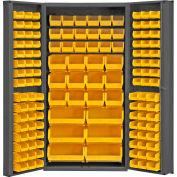 """Durham Storage Bin Cabinet DC-BDLP-132-95 - 132 Hook-on Bins, Deep Door 36""""W x 24""""D x 72""""H"""