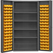 "Durham Storage Bin Cabinet DC-DLP-96-4S-95 - 96 Hook-on Bins, 4 Shelves 36""W x 24""D x 72""H"