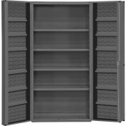 "Durham Storage Bin Cabinet DC36-4S12DS-95 - 4 Shelves & 14 Door Shelves 36""W x 24""D x 72""H"