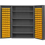 "Durham Storage Bin Cabinet DC48-128-4S-95 - 128 Yellow Hook-on Bins, 4 Shelves 48""W x 24""D x 72""H"