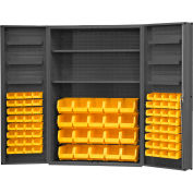 "Durham Storage Bin Cabinet DC48-842S6DS-95 - 84 Yellow Hook-on Bins & Shelves 48"" x 24"" x 72"""
