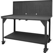 "Durham DWBM-3060-BE-LP-95 60""W x 30""D x 61-3/4""H Mobile Work Bench with louvered panel top"