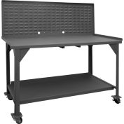 "Durham DWBM-3660-BE-LP-95 60""W x 36""D x 61-3/4""H Mobile Work Bench - with Louvered Panel Top"