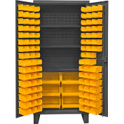 "Durham Bin Cabinet HDC36-102-3S95 - 12 Gauge With 102 Hook-On Bins & Shelves, 36""W x 24""D x 78""H"