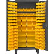 "Durham Bin Cabinet HDC36-126-95 - 12 Gauge With 128 Hook-On Bins, 36""W x 24""D x 78""H"