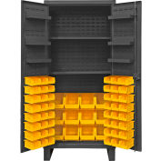 "Durham Bin Cabinet HDC36-60-2S6D95 - With 60 Hook-On Bins & Shelves, 36""W x 24""D x 78""H"