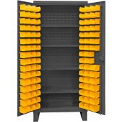 "Durham Bin Cabinet HDC36-96-4S95 - 12 Gauge w/96 Hook-On Bins & Shelves, 36""W x 24""D x 78""H"