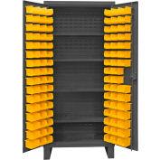 """Durham Bin Cabinet HDC36-96-4S95 - 12 Gauge w/96 Hook-On Bins & Shelves, 36""""W x 24""""D x 78""""H"""