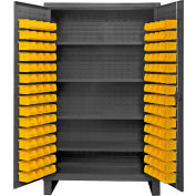 "Durham Bin Cabinet HDC48-120-4S95 - 12 Gauge With 120 Hook-On Bins & Shelves, 48""W x 24""D x 78""H"