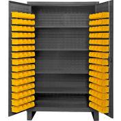 "Durham Bin Cabinet HDC48-120-4S95 - 12 Gauge With 120 Hook-On Bins & Shelves, 48""W x 24""D x 78""H"